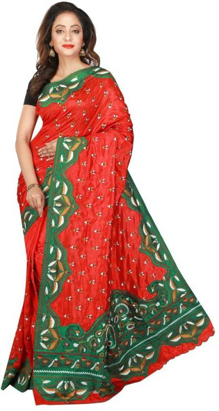 99d775b764 Avik Creations Solid, Applique, Paisley, Embroidered, Woven, Floral Print,  Embellished, Self Design Fashion Art Silk, Dupion Silk Saree (Red, White,  Green, ...