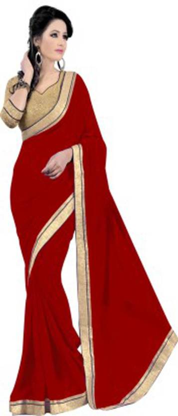 Indrani Solid Fashion Chiffon Saree  (Red)