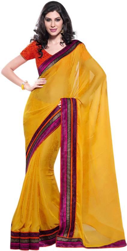 1f20eed4a778c5 Buy Cbazaar Self Design Puttapaka Georgette Yellow Sarees Online ...