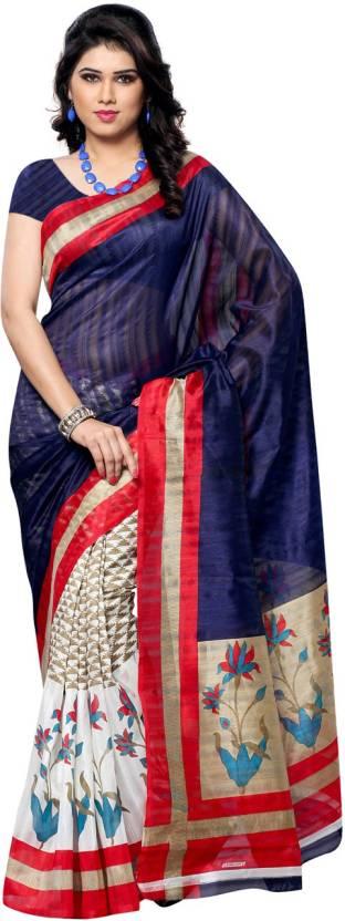 Ambaji Floral Print Bhagalpuri Silk Sari