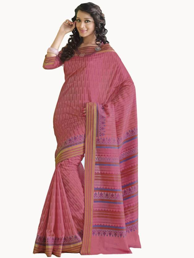e9422486886fc1 Buy Samyakk Printed Kota Doria Cotton Pink Sarees Online @ Best ...