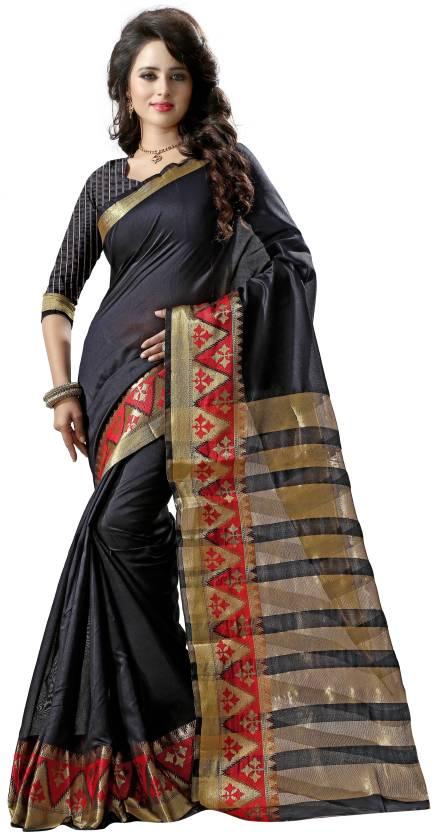 0f4f54517a Buy London Beauty Woven Banarasi Tussar Silk, Jacquard Black, Red ...