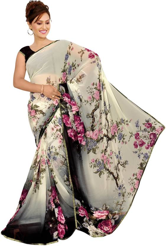 75f2a19b1f8f Kalaa Varsha Printed, Floral Print Daily Wear Synthetic Georgette Saree  (Black, White)