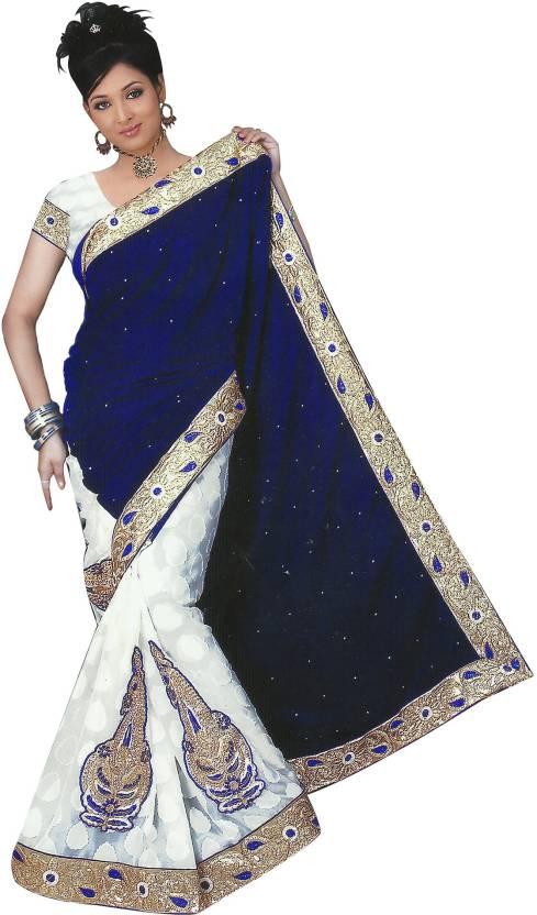 55043f4d53e455 Buy Essemm Applique Bollywood Velvet Blue Sarees Online @ Best Price ...