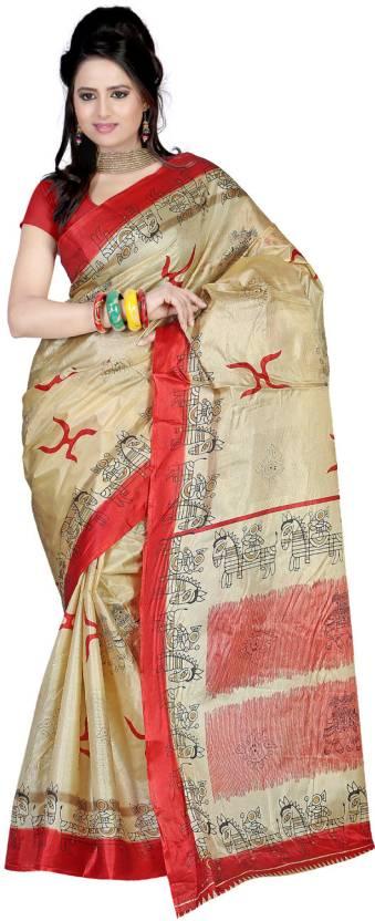 Ambaji Animal Print Fashion Art Silk Saree