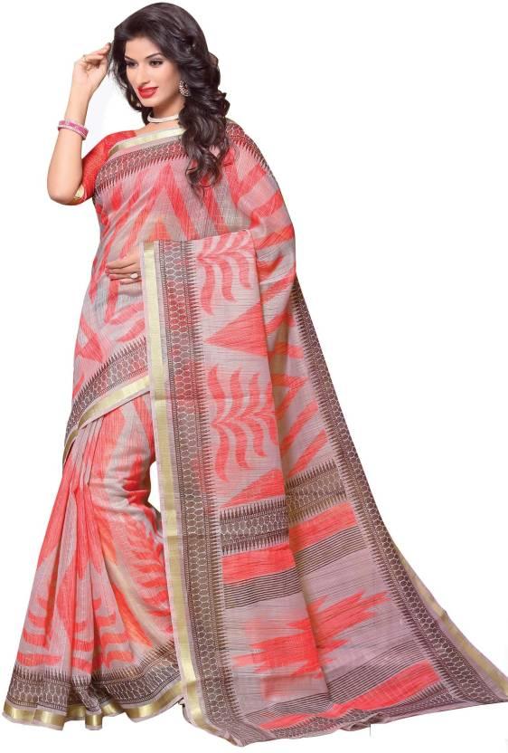 949695d89f Buy Miraan Printed Daily Wear Chanderi Pink Sarees Online @ Best ...