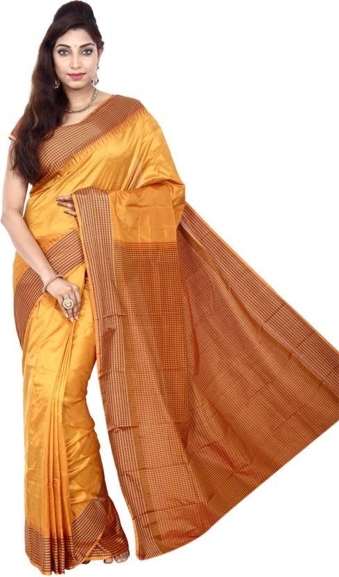 3f32d4499 Buy Indian Silks Checkered Kanjivaram Pure Silk Mustard Sarees ...