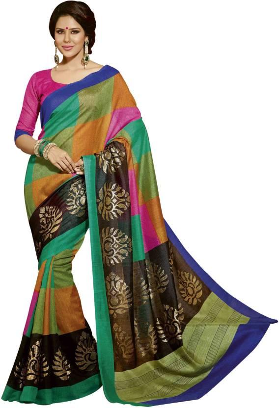 c0fc9a9b5ed Buy Poornathava Floral Print Bollywood Art Silk Multicolor Sarees ...