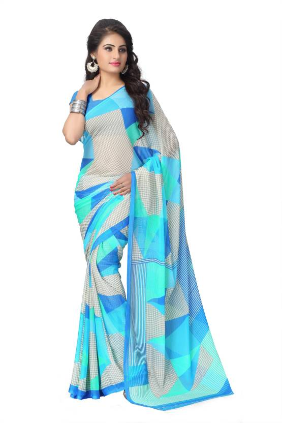 757b94f3c Buy Vaamsi Printed Daily Wear Chiffon Blue Sarees Online   Best ...