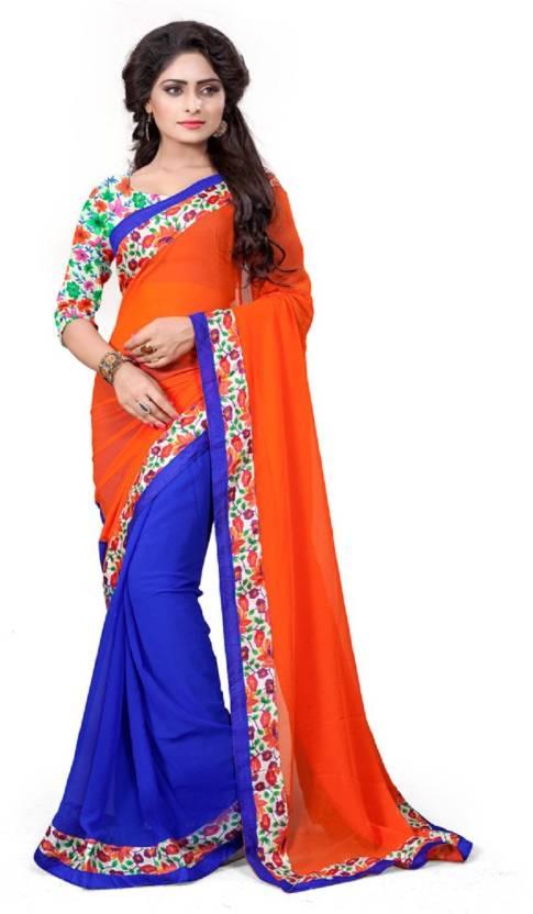 8d998c209 Indian E Fashion Self Design Bollywood Georgette Saree (Orange