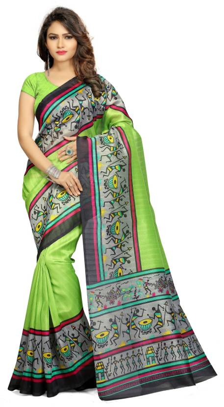 13550ebda0a Buy Armaya Printed Bhagalpuri Poly Silk Light Green Sarees Online ...
