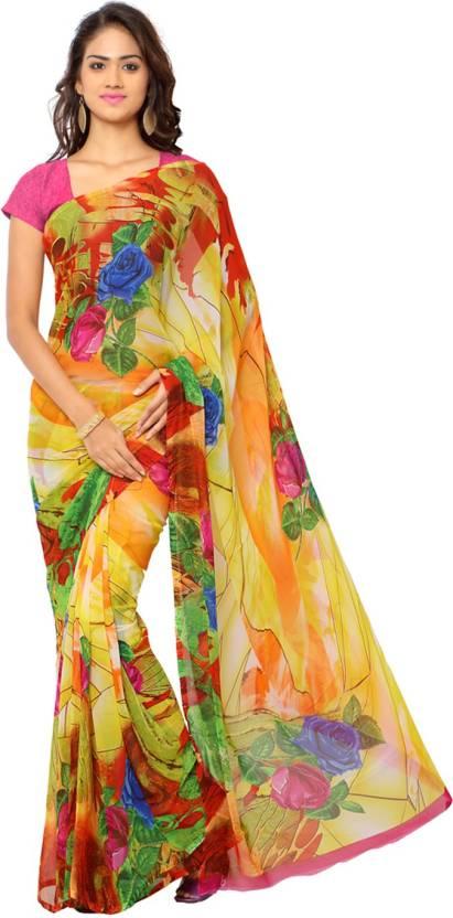 12850626d3c Buy Ligalz Printed Daily Wear Chiffon Yellow Sarees Online   Best ...