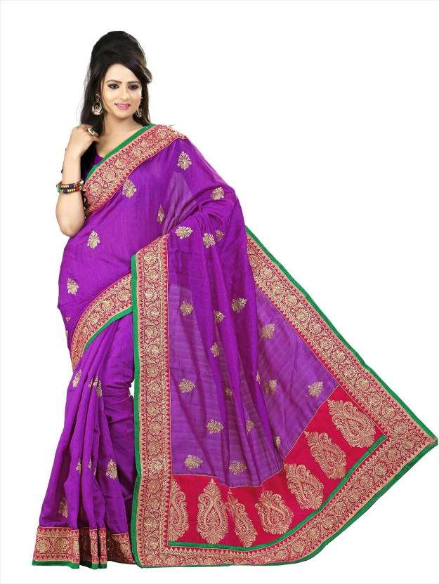 105d3954c6 Buy Saree Exotica Solid Fashion Silk Multicolor Sarees Online @ Best ...