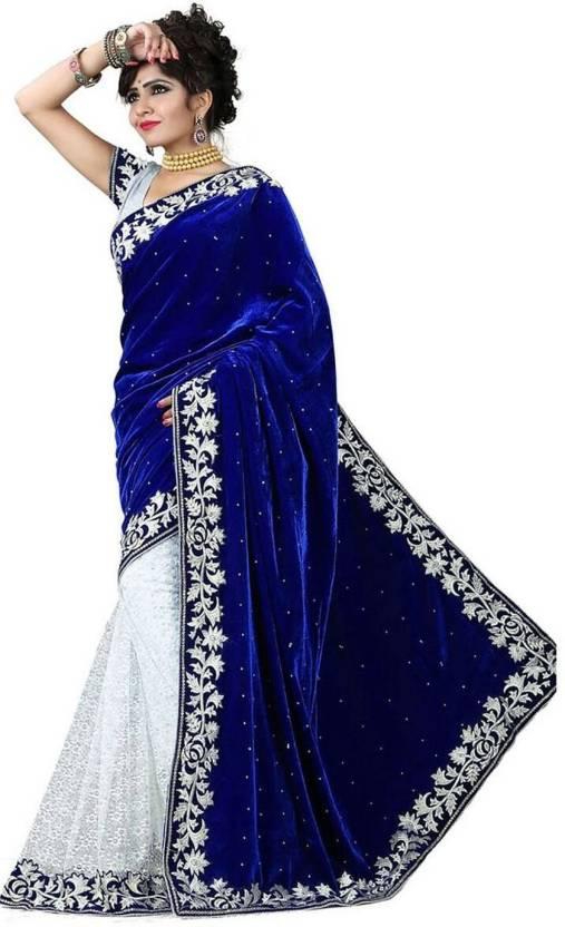 71d35ce1c87eae Buy leepsprints Embroidered Bollywood Velvet Blue Sarees Online ...