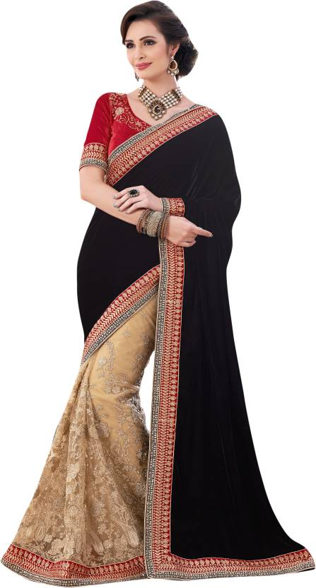 c247028551 Buy Saree Exotica Solid Fashion Net Gold, Red, Black Sarees Online ...