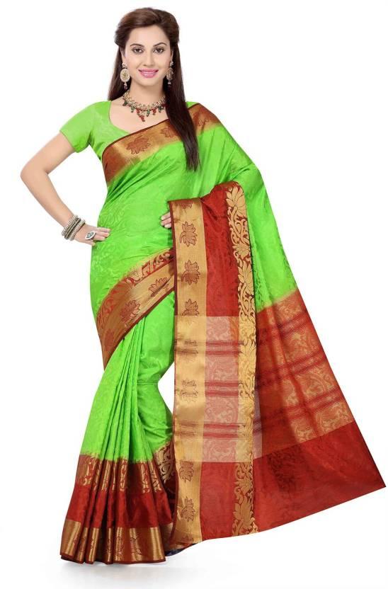 a118e7dff7 Buy Ishin Woven Fashion Tussar Silk Green Sarees Online @ Best Price ...