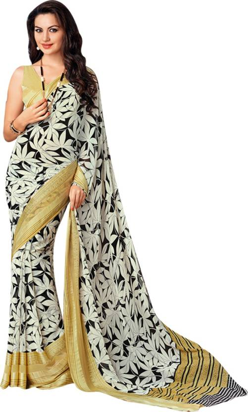 Buy Neerus Striped Daily Wear Pure Georgette Gold Sarees