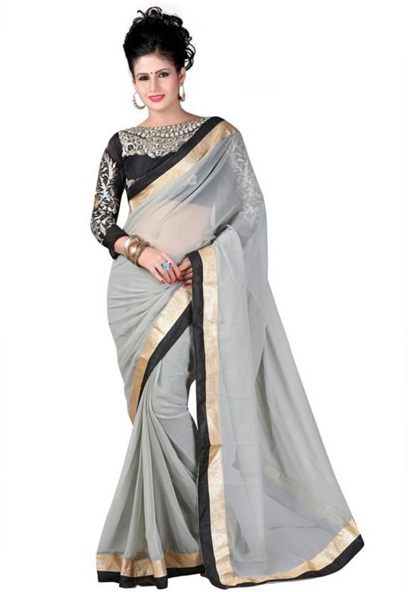 c0a3b79ddfab99 Buy Monika Silk Mill Plain Daily Wear Chiffon Grey Sarees Online ...