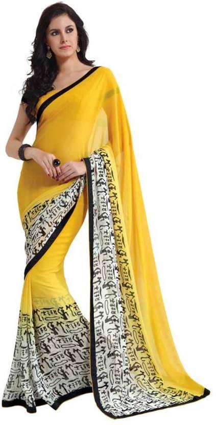 62b015674 Buy Subhash Sarees Printed Daily Wear Georgette White, Yellow Sarees ...