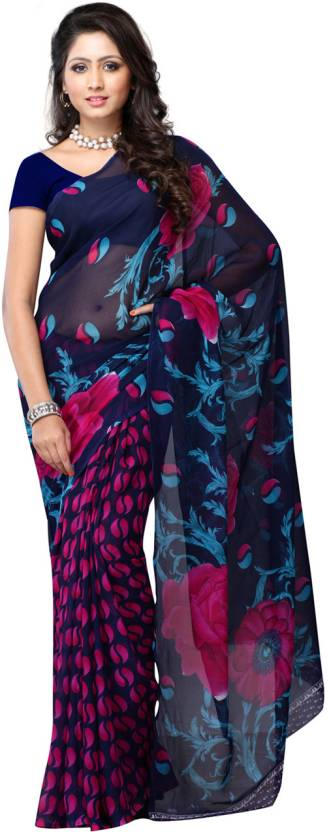Ambaji Geometric Print Fashion Georgette Sari