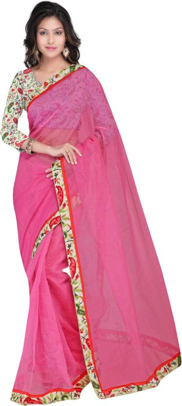 Sarvagny Clothing Self Design Fashion Silk Saree  (Pink)