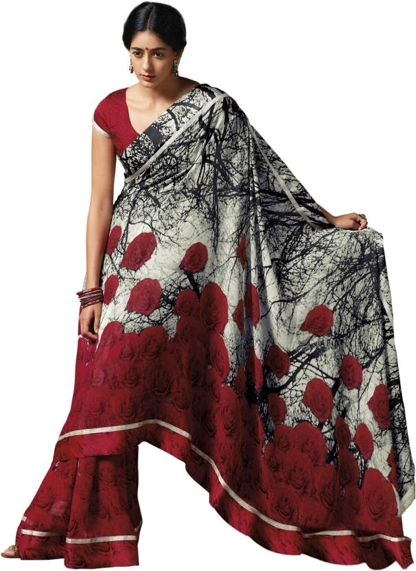 f5db897231 Laxmipati Sarees Self Design, Floral Print Fashion Georgette Saree (Red,  White)