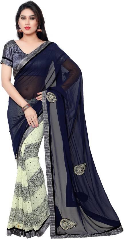 Indian Women Embellished Fashion Georgette Sari