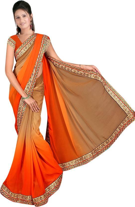 60470d1a5d Aakriti Sarees Embroidered Fashion Handloom Chiffon Saree (Multicolor)