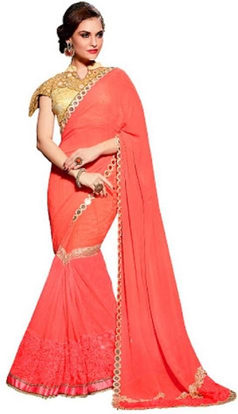 8454af388b8d Buy Shri Prem Saree Embroidered Fashion Georgette Pink Sarees ...