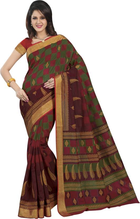 7bc716c1b29a49 KALYAN SILK WORLD Floral Print Mysore Art Silk Saree (Pack of 102,  Multicolor)