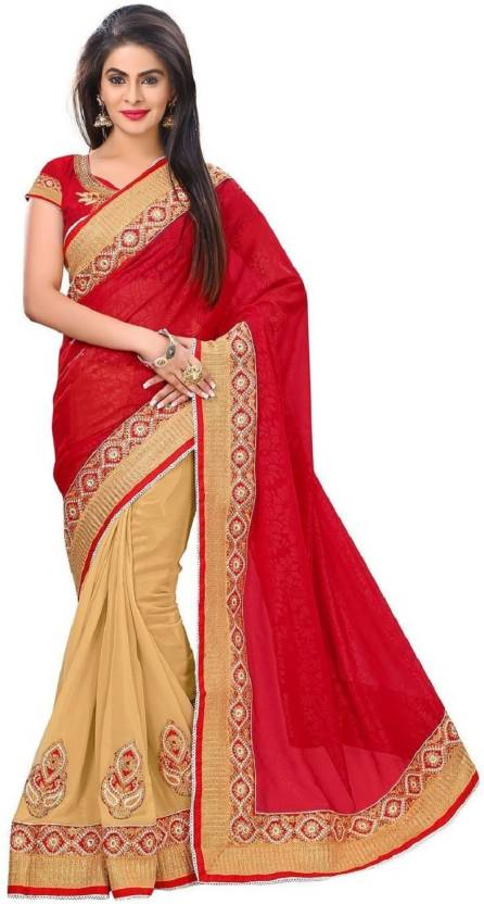 b4573f438f Buy Lady Berry Embroidered Fashion Georgette Red Sarees Online ...