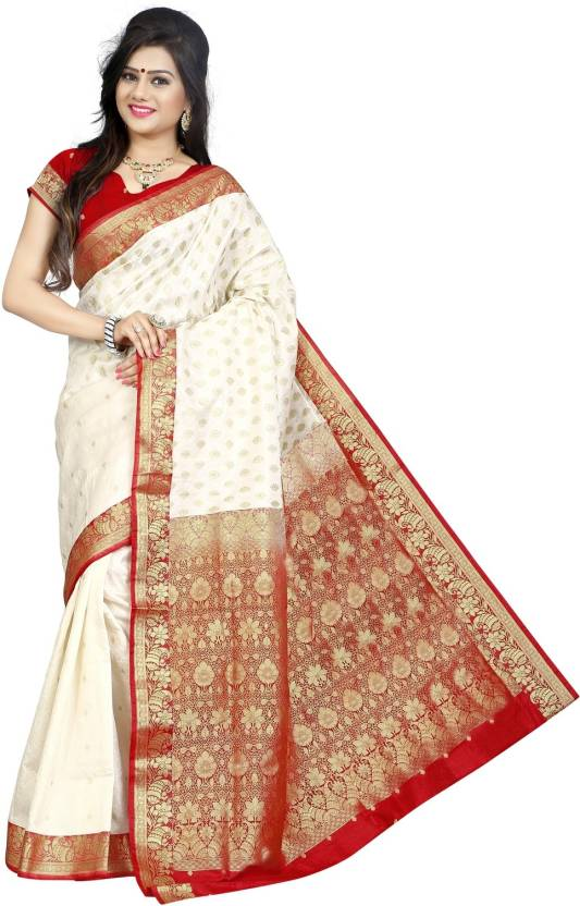 e6d3c3f536 Buy JagannathSaree Woven Fashion Silk White, Red Sarees Online ...