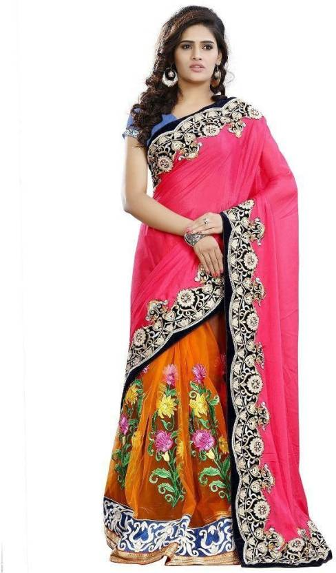 0170063241 MANJULA FEB Embroidered Bollywood Georgette, Net Saree (Pink, Orange)
