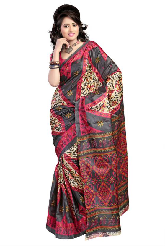 Ambaji Floral Print Daily Wear Art Silk Saree