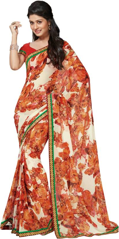 Roop Kashish Floral Print Fashion Georgette Saree