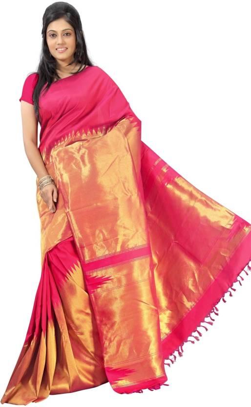 a874c8409b Buy Sudarshan Silks Solid Kanjivaram Silk Pink Sarees Online @ Best ...