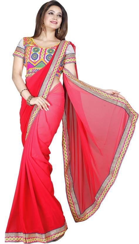 Ishin Solid Fashion Georgette Sari