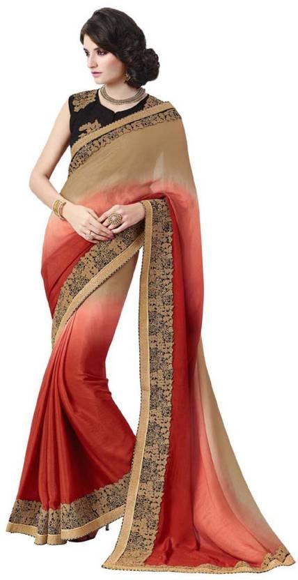 67c72387e7fab7 Buy Desi Butik Embroidered Fashion Satin, Silk Beige, Red Sarees ...