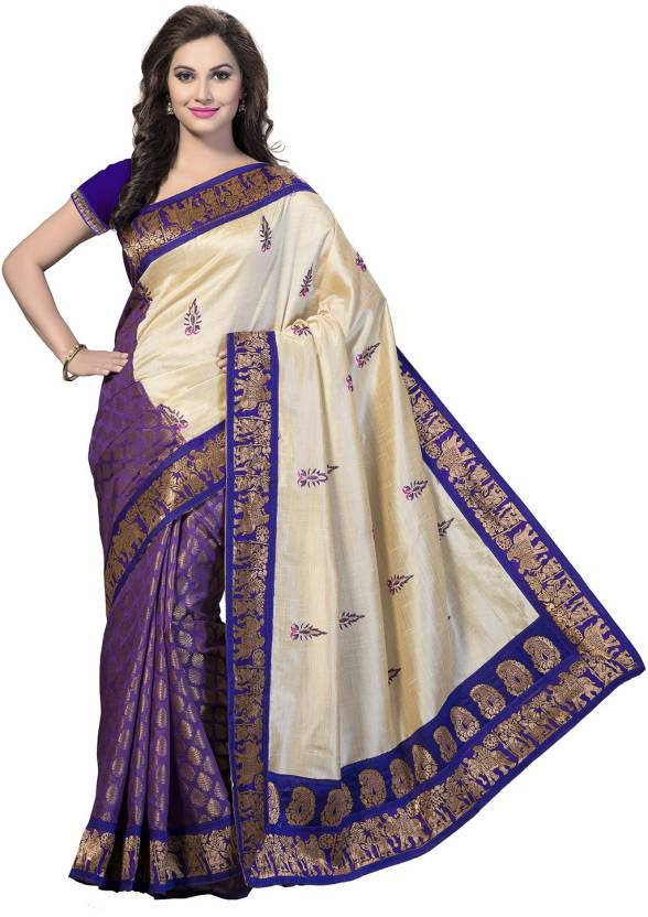 24960d4660 Buy Vishnupriya Fabs Printed Bhagalpuri Silk Beige