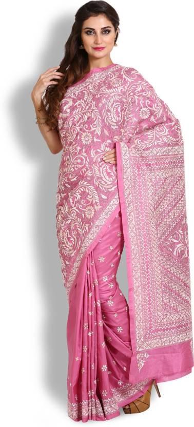 7e920ff9d17 Kasturi-B Swadeshi Karigari Embroidered Kantha Handloom Pure Silk Saree