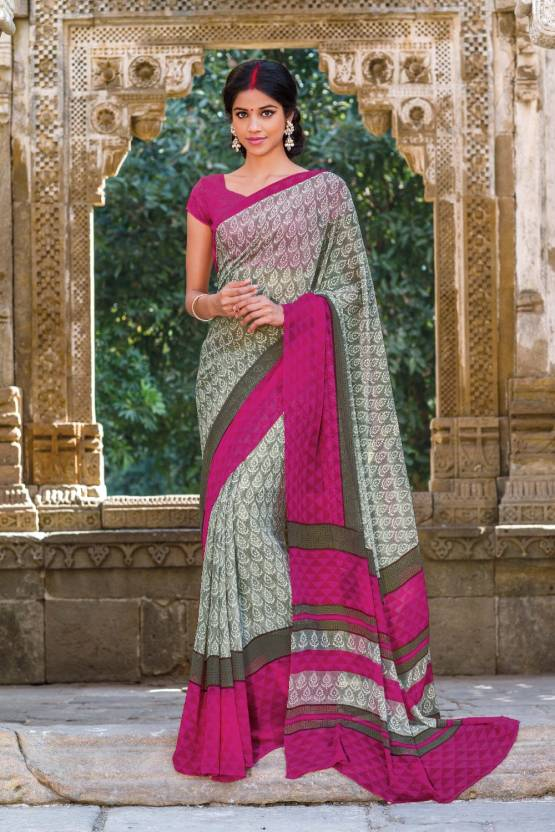 ed051b2d60 Buy Laxmipati Sarees Solid Fashion Georgette Grey, Pink Sarees ...