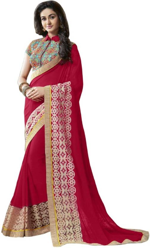 645a6186ae53d3 Buy FabPandora Embroidered Fashion Georgette Red Sarees Online ...