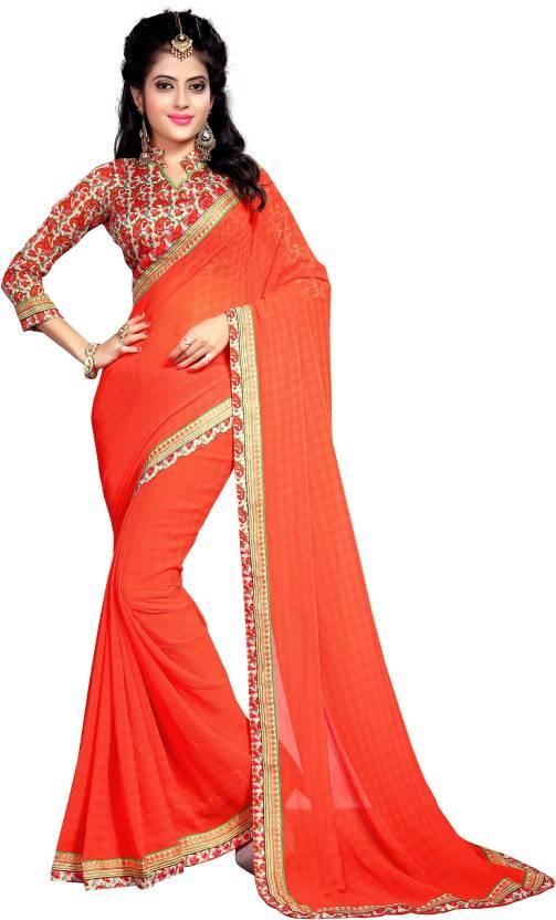 Sarees House Self Design, Solid, Printed Fashion Chiffon Saree