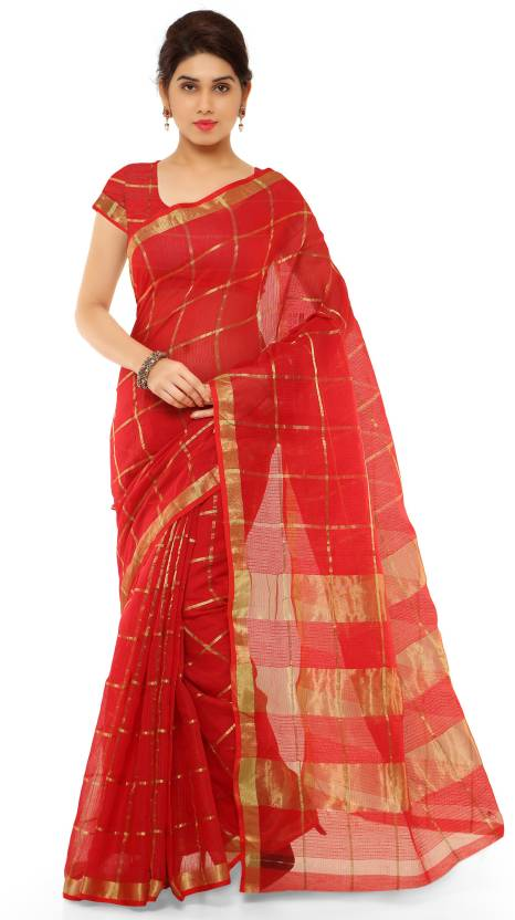 68d2a74137 Buy Kvsfab Woven Banarasi Cotton Red Sarees Online @ Best Price In ...