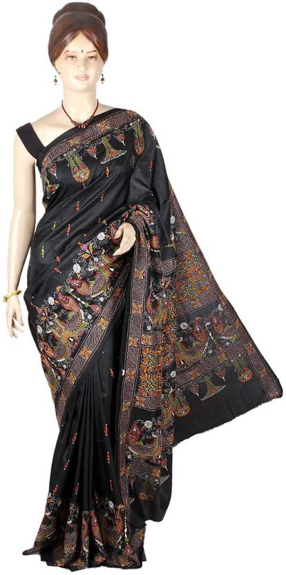 9a0683ef83f Buy Maanini Embroidered Kantha Silk Multicolor Sarees Online   Best ...