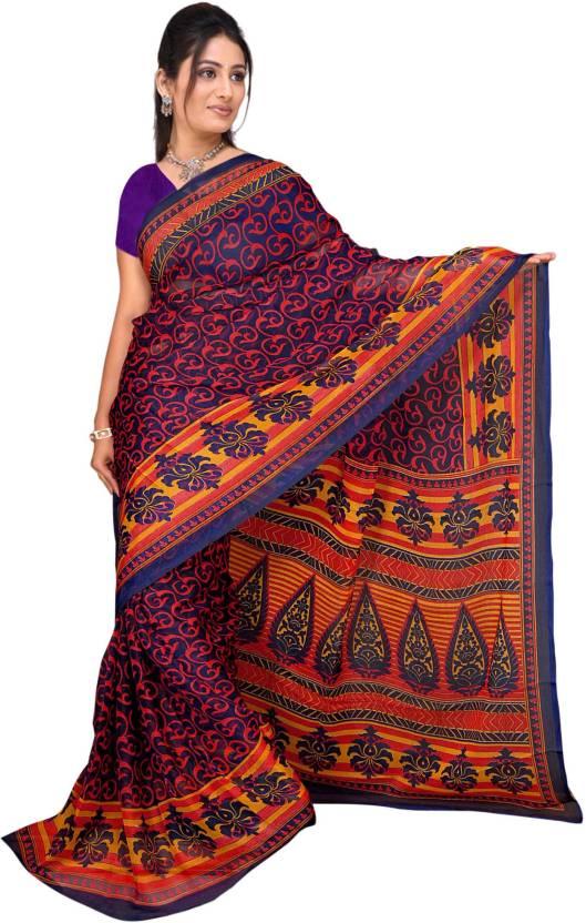 Khushali Self Design, Printed Fashion Chiffon Saree(Multicolor)
