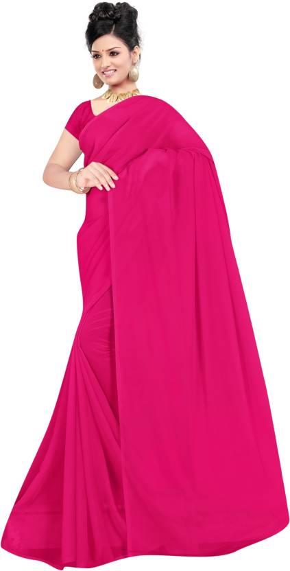 aa100a7f3 Buy Chetanya Fashion Solid Fashion Georgette Magenta Sarees Online ...