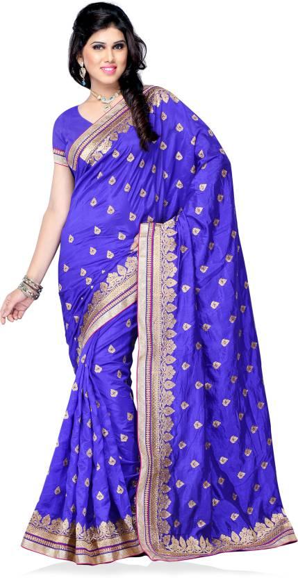 cfb37a7b3b Buy Aakriti Sarees Printed Fashion Chiffon Dark Blue, Gold Sarees ...