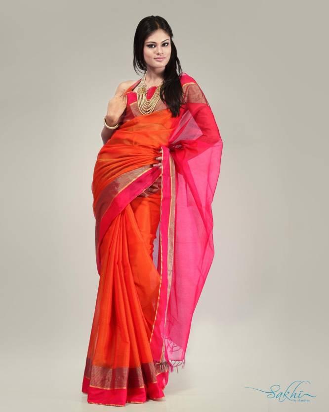 831f6b06c3 Buy Sakhi Fashions Floral Print Cotton, Silk Orange, Pink Sarees ...