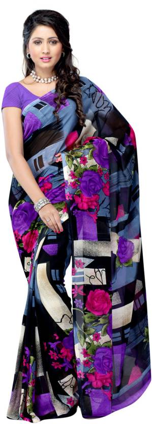 Ambaji Graphic Print Fashion Georgette Saree
